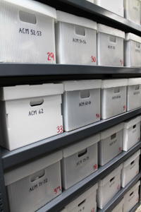 shelves of labeled boxes