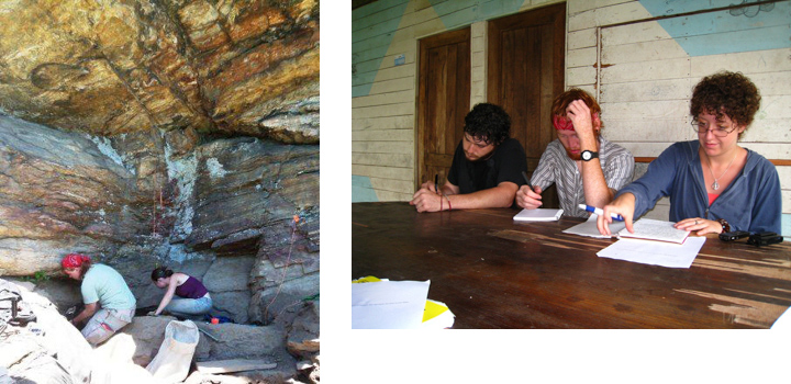 archaeological field site and students writing at a table