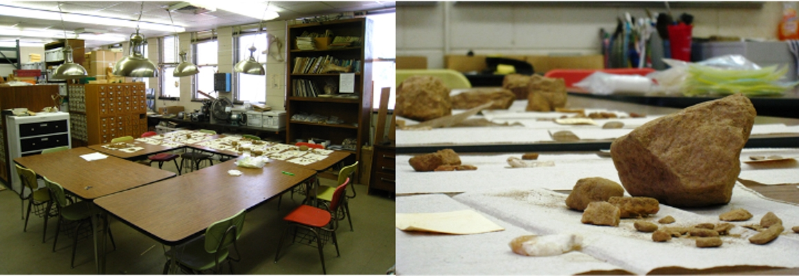 archaeology labs and rock specimens